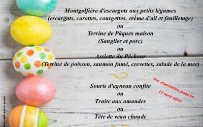 Notre menu de Pâques