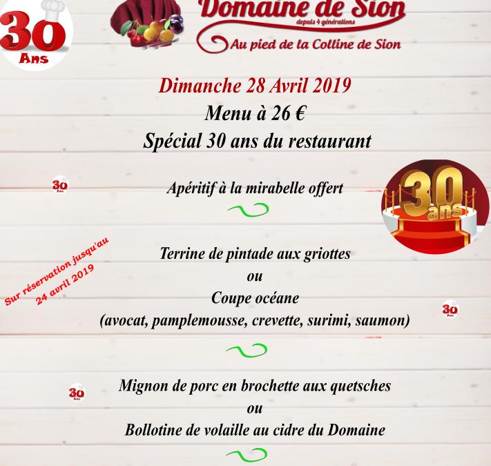 Les 30 ans du Restaurant